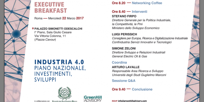 "INTERNATIONAL TRADE- Roma 22.03.2017, Seminario ""Industria 4.0 - Piano nazionale, investimenti, sviluppo""."